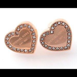 Jewelry - ROSE GOLD HEART STUDS PAVE CRYSTALS DESIGNER LOGO